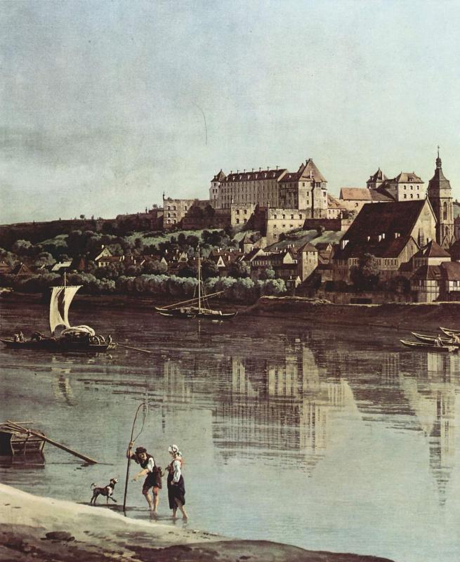 Джованни Антонио Каналь (Каналетто). Вид Пирны с крепостью Зонненштайн, фрагмент