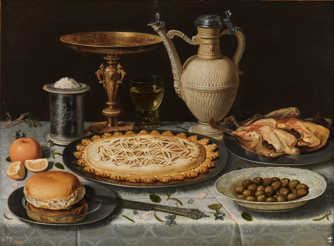 Clara Peeters. Table with tablecloth, bowl, gold plated bowl, cake porcelain plate with olives and boiled poultry