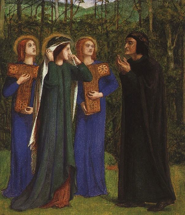 Dante Gabriel Rossetti. The meeting of Dante and Beatrice in Paradise