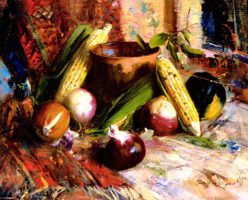 Kir Afsari. Onions and corn