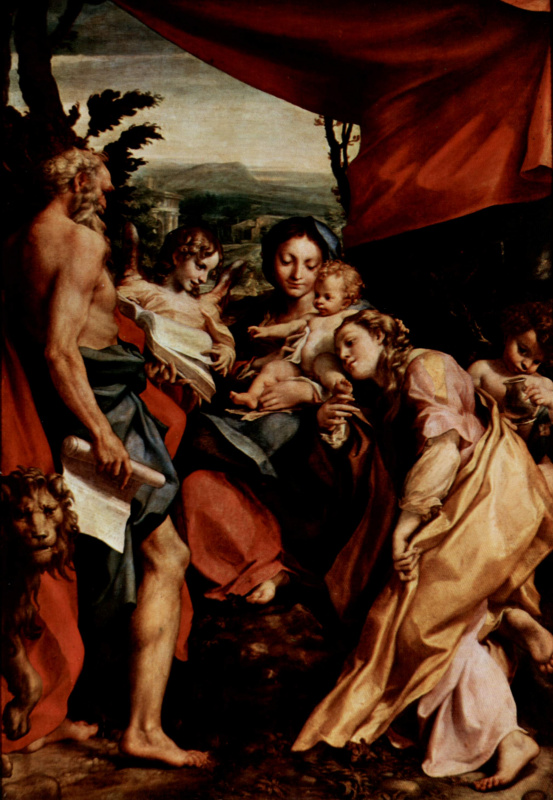 Антонио Корреджо. Мадонна св. Иеронима, Мария с младенцем, св. Иероним, св. Мария Магдалина