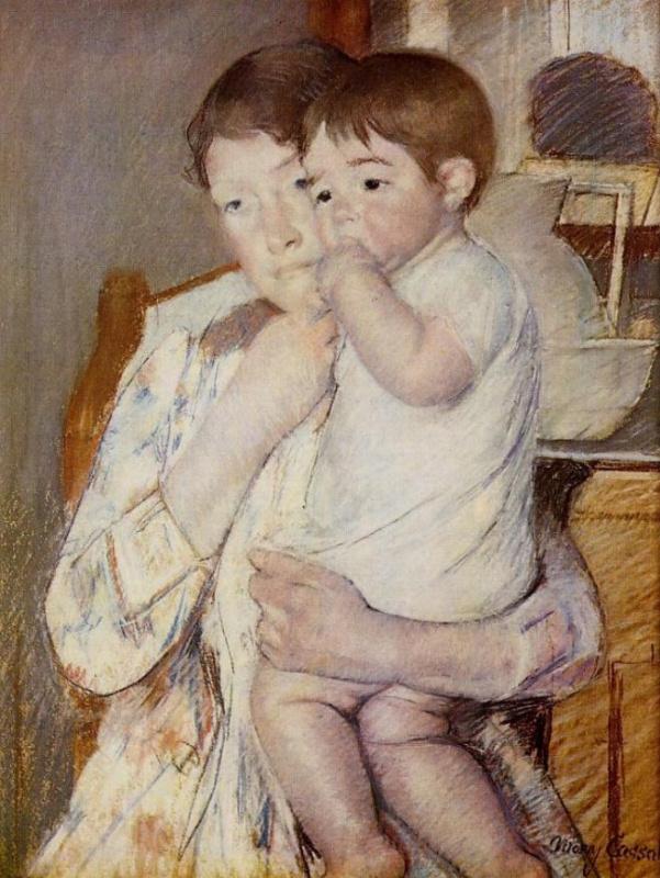 Мэри Кассат. Младенец, сосущий пальчик, на руках у матери