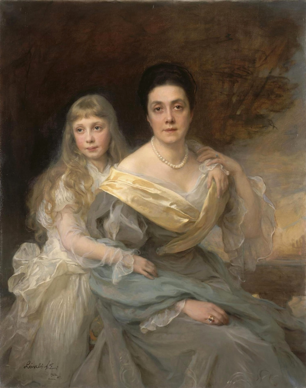 Филип Аликсис Де Ласло. Portrait of a lady with her daughter. 1902