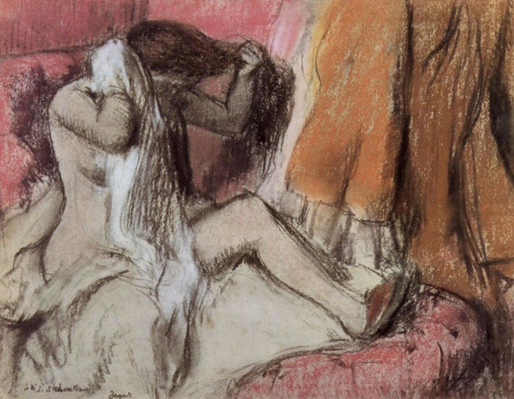 Эдгар Дега. Сидящая в шезлонге и вытирающаяся женщина