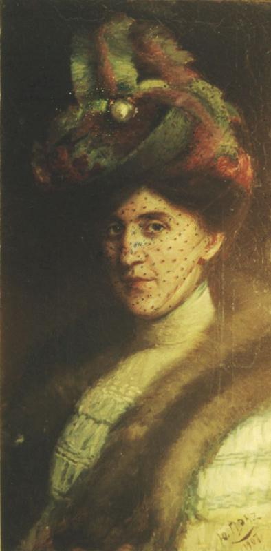 Юдель Пэн. Портрет неизвестной в шляпе с вуалью