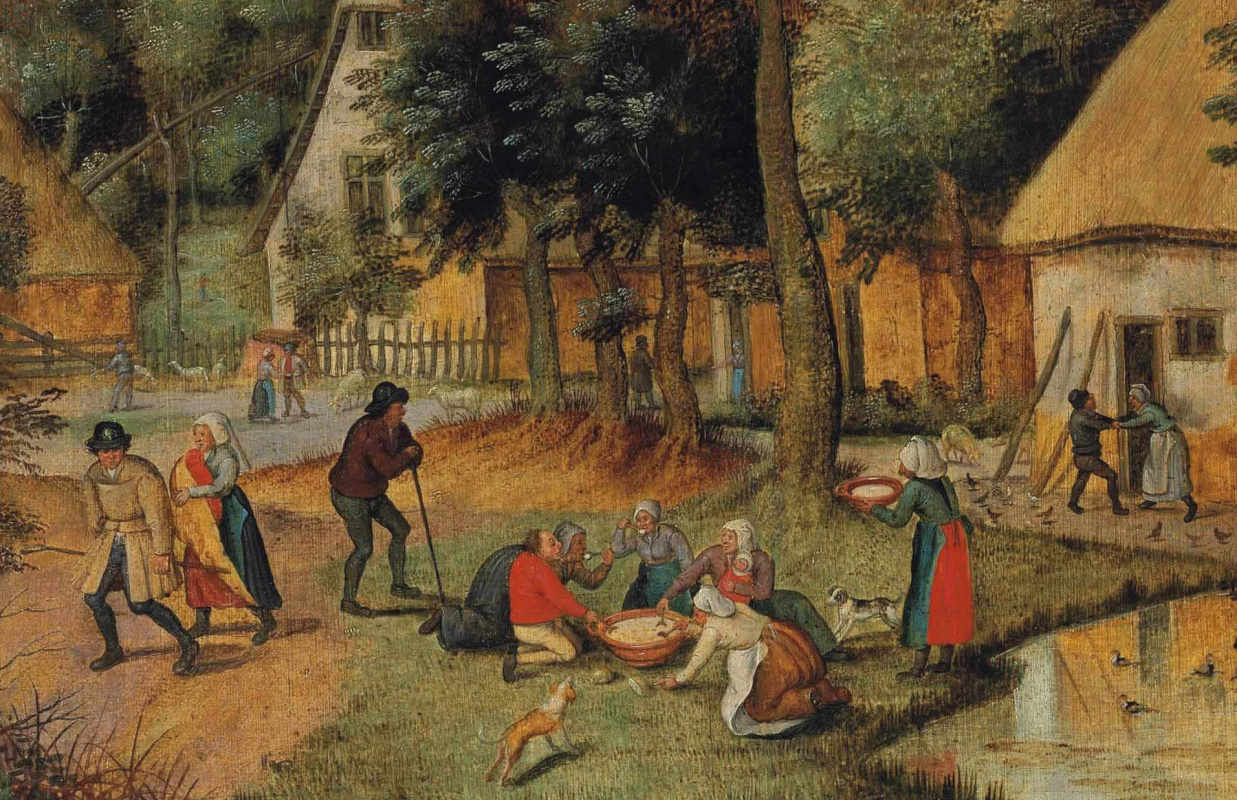 Peter Brueghel the Younger. Peasant lunch on the grass. Fragment