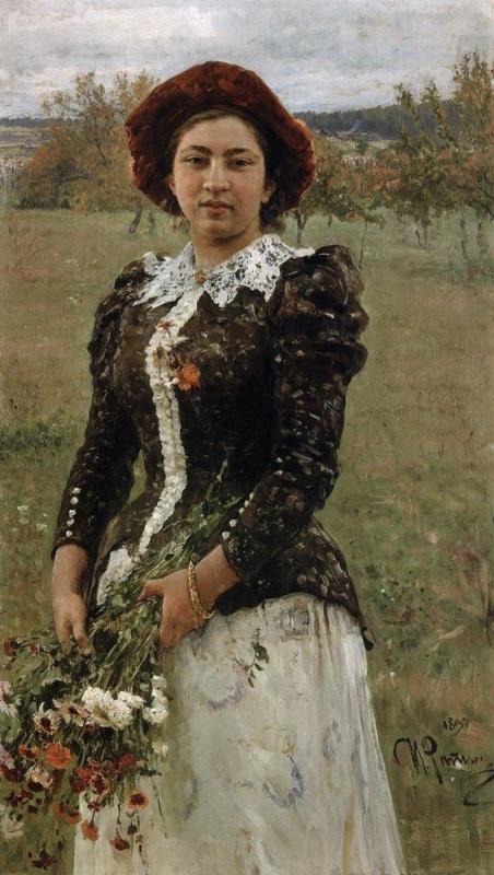 Ilya Efimovich Repin. Autumn bouquet. Portrait Of Vera Ilyinichna Repina
