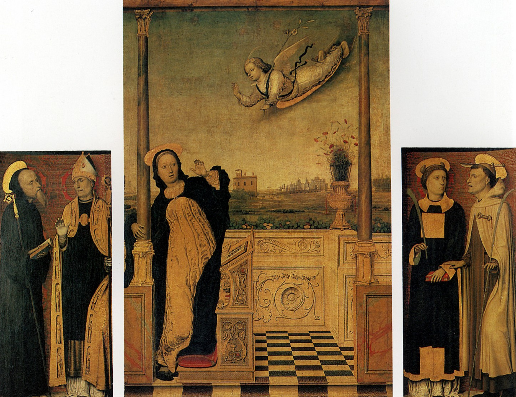 Carlo Dee Bracecco. The Annunciation with saints