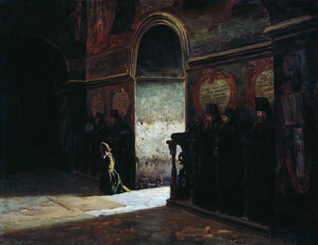 Nikolay Aleksandrovich Yaroshenko. In the monastery. 1870