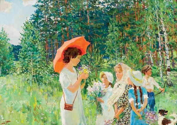Аркадий Александрович Пластов. Урок ботаники
