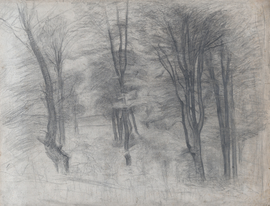 Vilhelm Hammershøi. Trees on a hill
