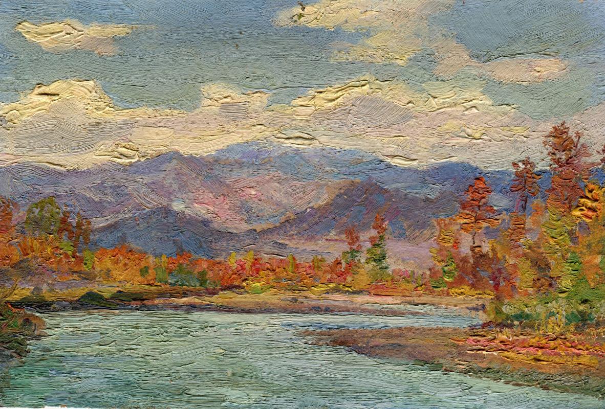 Vasily Fadeevich Demin. Study Golden Autumn Yenisei