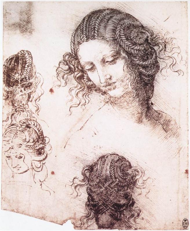 Leonardo da Vinci. Head of Leda (outline)