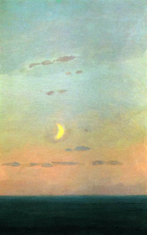 """Архип Иванович Куинджи. Лунный серп на фоне заката. Эскиз картины  """"Закат в степи"""""""