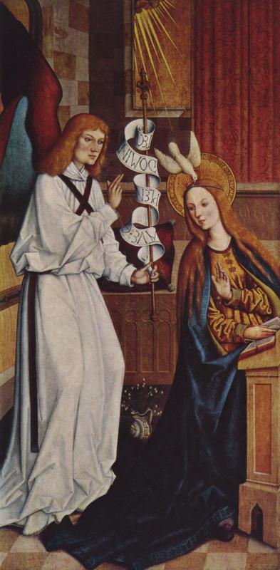 Бартоломей Цейтблом. Эшахский алтарь, сцена с внутренней стороны левой створки: благовещение Марии