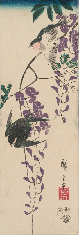 """Utagawa Hiroshige. A couple of swallows and Wisteria. Series """"Birds and flowers"""""""