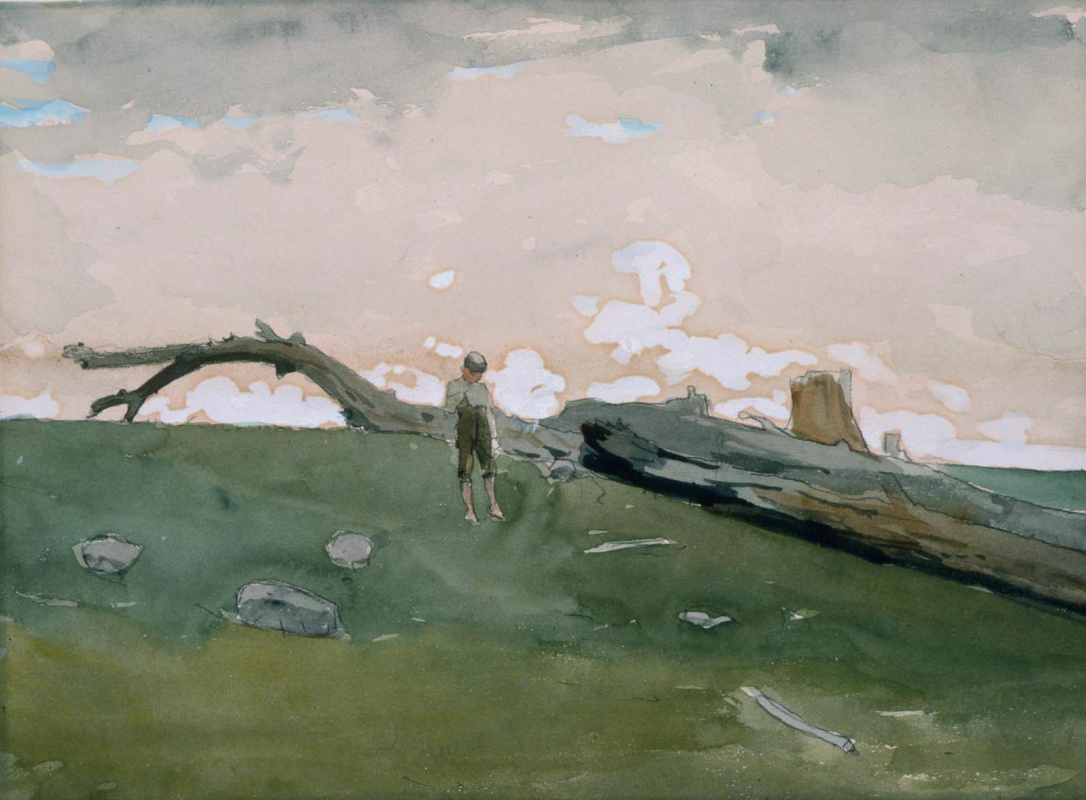 Winslow Homer. A boy and a fallen tree