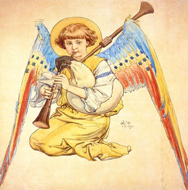 Ян Матейко. Ангел, играющий на волынке. Проект для церкви Святой Марии