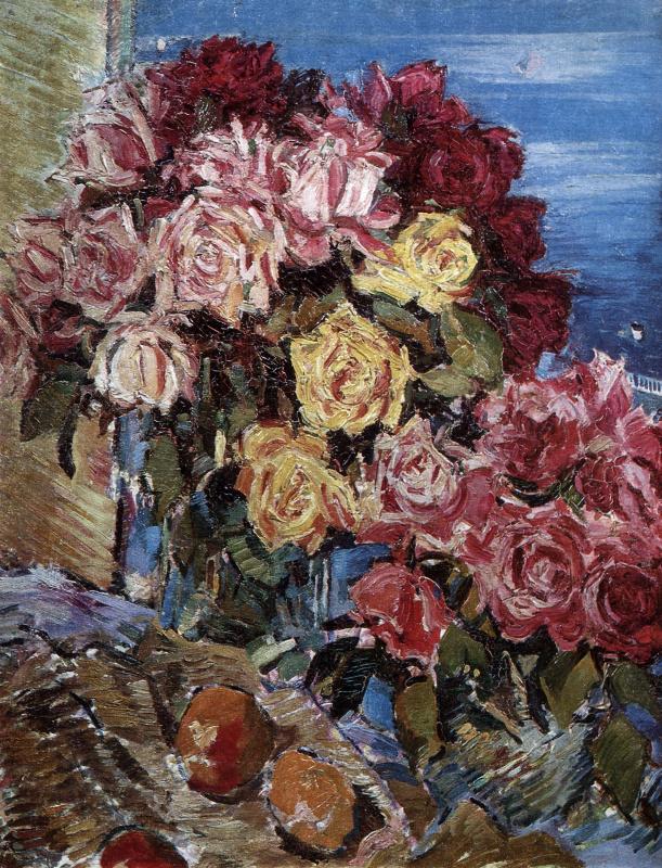 Константин Алексеевич Коровин. Розы на фоне моря