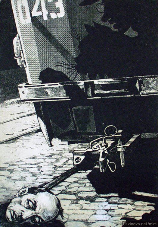 """Виктор Георгиевич Ефименко. """"Мастер и Маргарита"""".  Голова Берлиоза (Из диптиха «Седьмое доказательство бытия Божия»)"""
