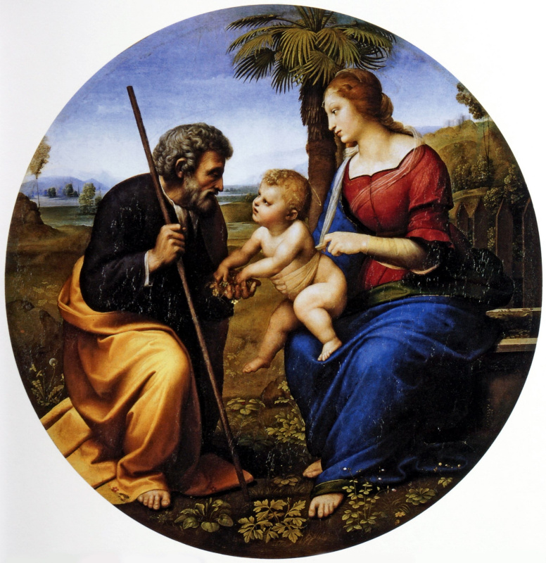 Raphael Santi. Holy family under a palm tree (Madonna under a palm tree)