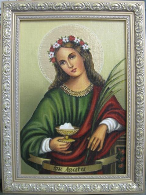Jadwiga Senko. St. Agatha icon Catholic (oil on canvas)