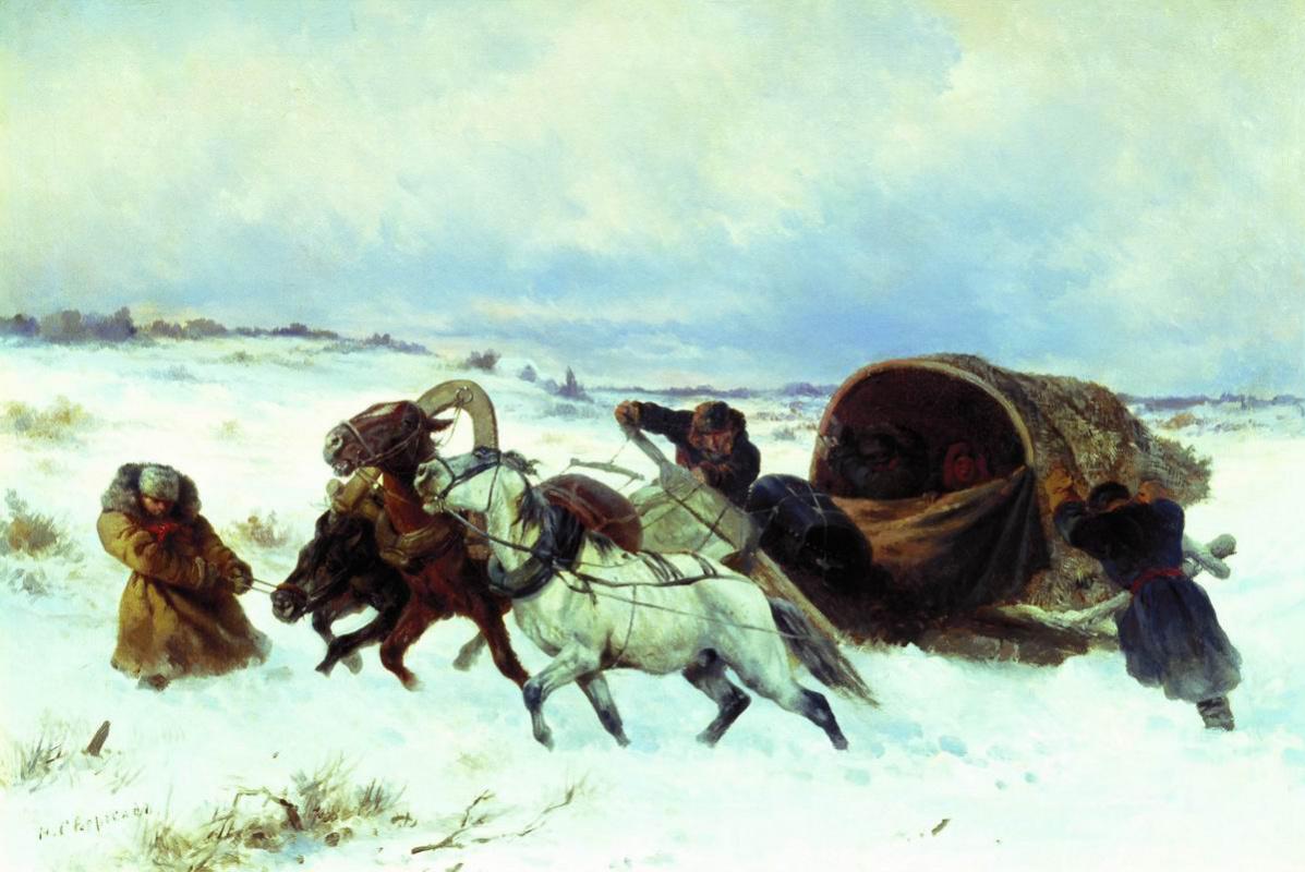 Николай Егорович Сверчков. Тройка зимой.