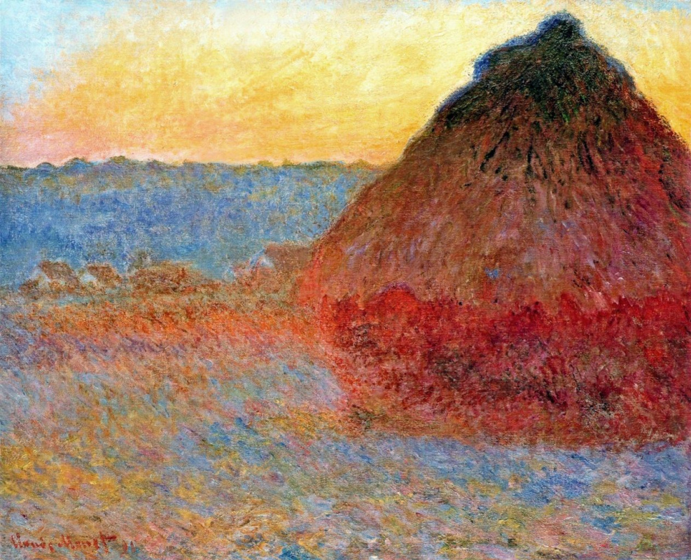 Claude Monet. Haystack, impression in pink and blue