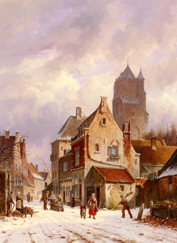 Адрианус Эверсен. Улица зимой