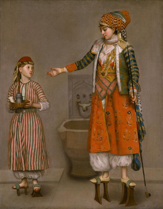 Дама в турецком костюме со служанкой в хамаме
