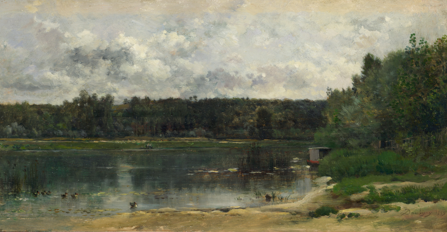 Шарль-Франсуа Добиньи. Река. Сцена с утками