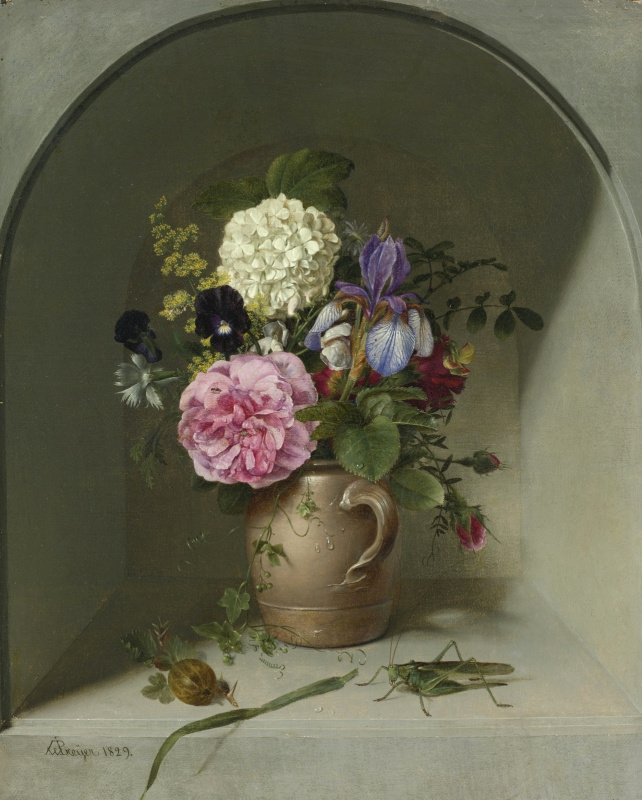 Иоганн Вильгельм Прейер. Цветы в глиняном кувшине в нише с кузнечиком. 1829