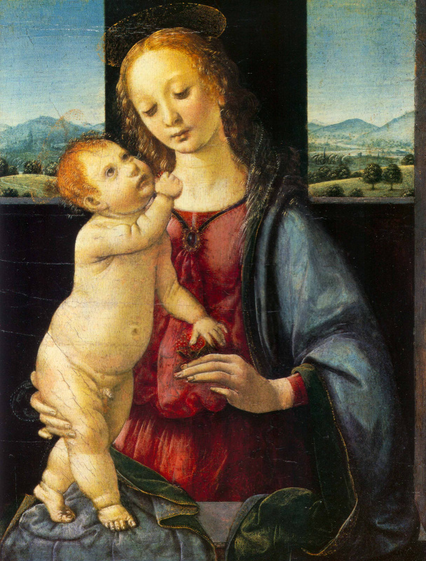 Леонардо да Винчи. Мадонна Дрейфус (Мадонна с Младенцем и гранатом)