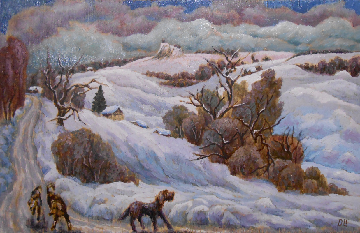 Владимир Иванович Осипов. The village dogs, f.m.40-30,©2018.