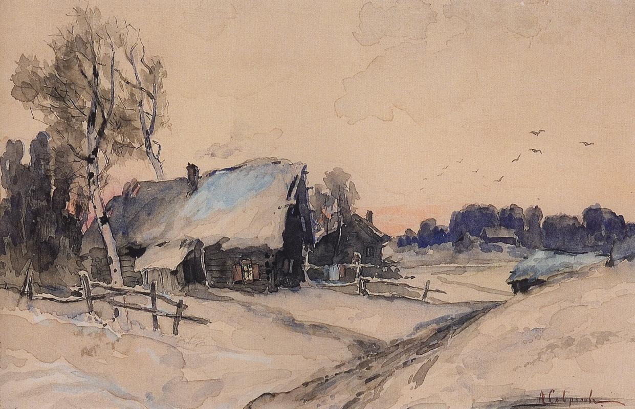 Алексей Кондратьевич Саврасов. Деревня зимой