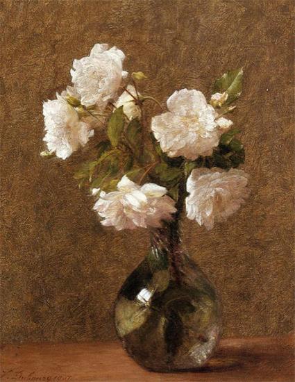 Виктория Дюбург (Фантен-Латур). Белые розы в вазе