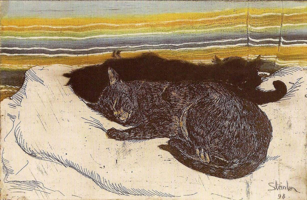 Theophile-Alexander Steinlen. Two cats on a white pillow