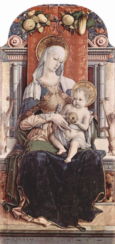 Карло Кривелли. Мадонна на троне. Центральный алтарь кафедрального собора в Асколи, полиптих, центральная часть