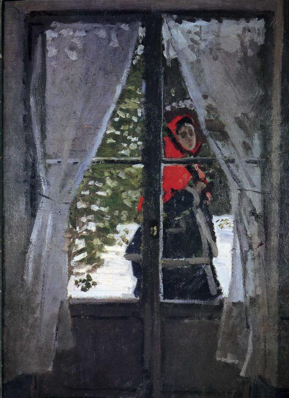 Claude Monet. A red kerchief, portrait of Madame Monet