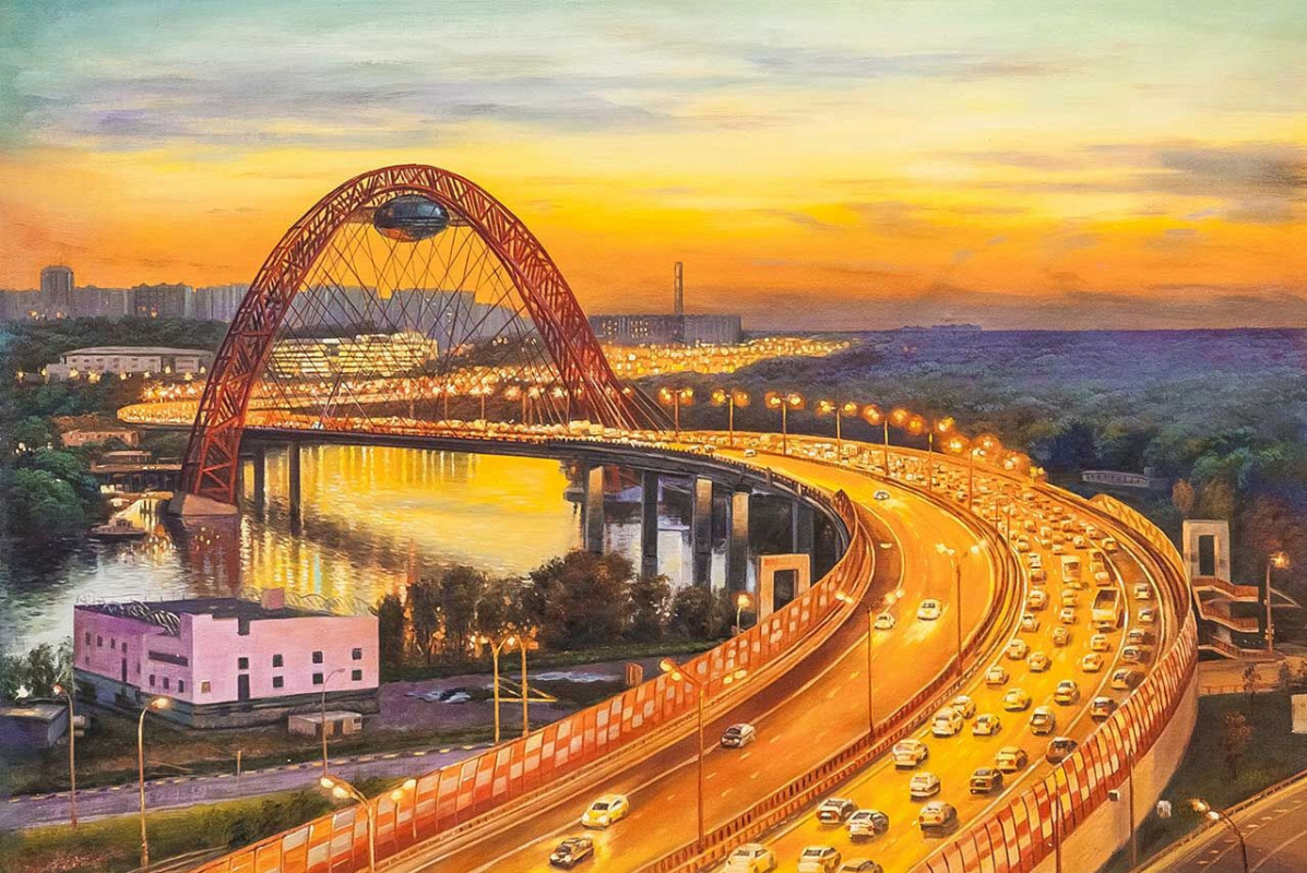 Savely Kamsky. Scenic bridge at sunset
