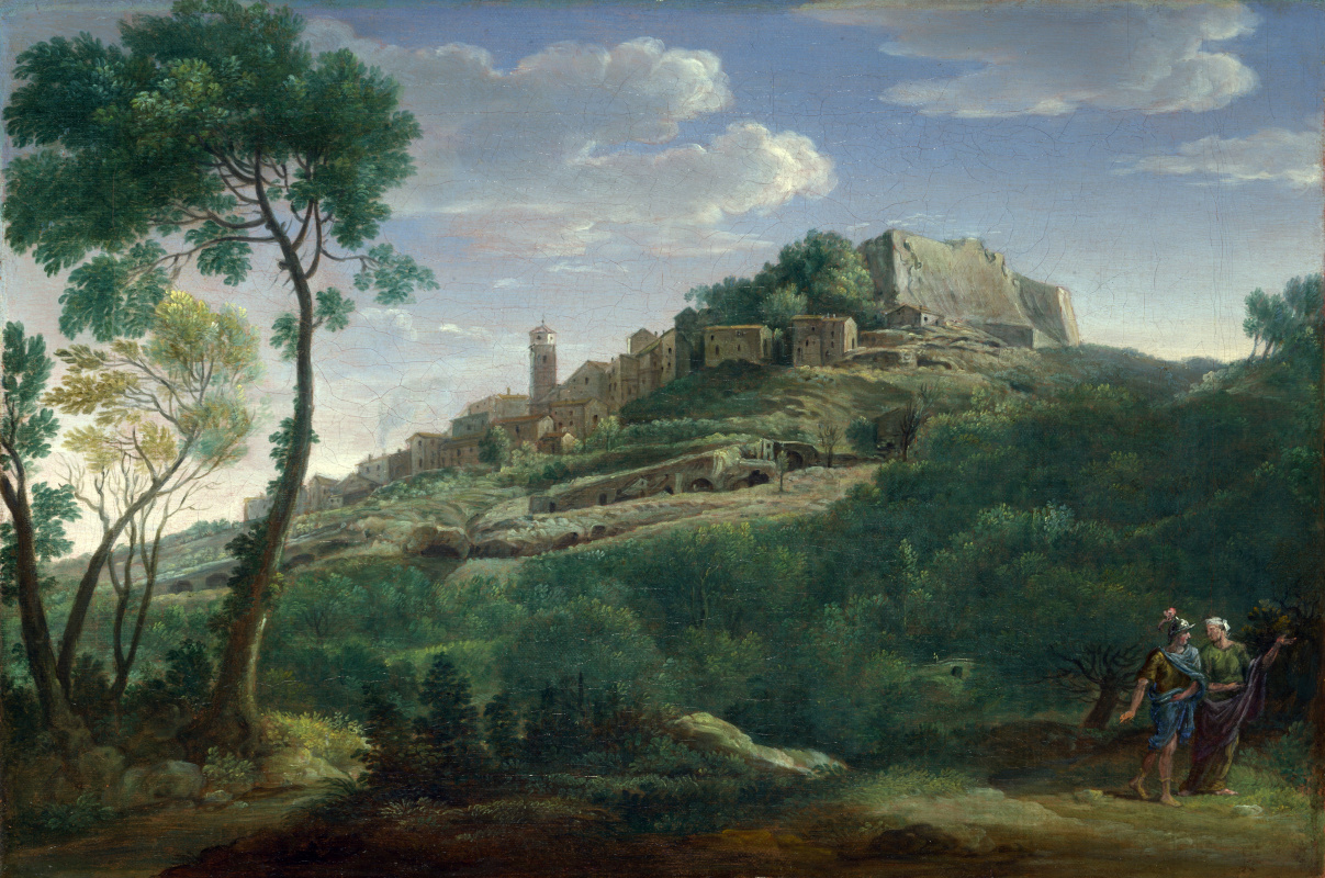 Франс ван Линт Хендрик. Пейзаж с итальянским городом на холме