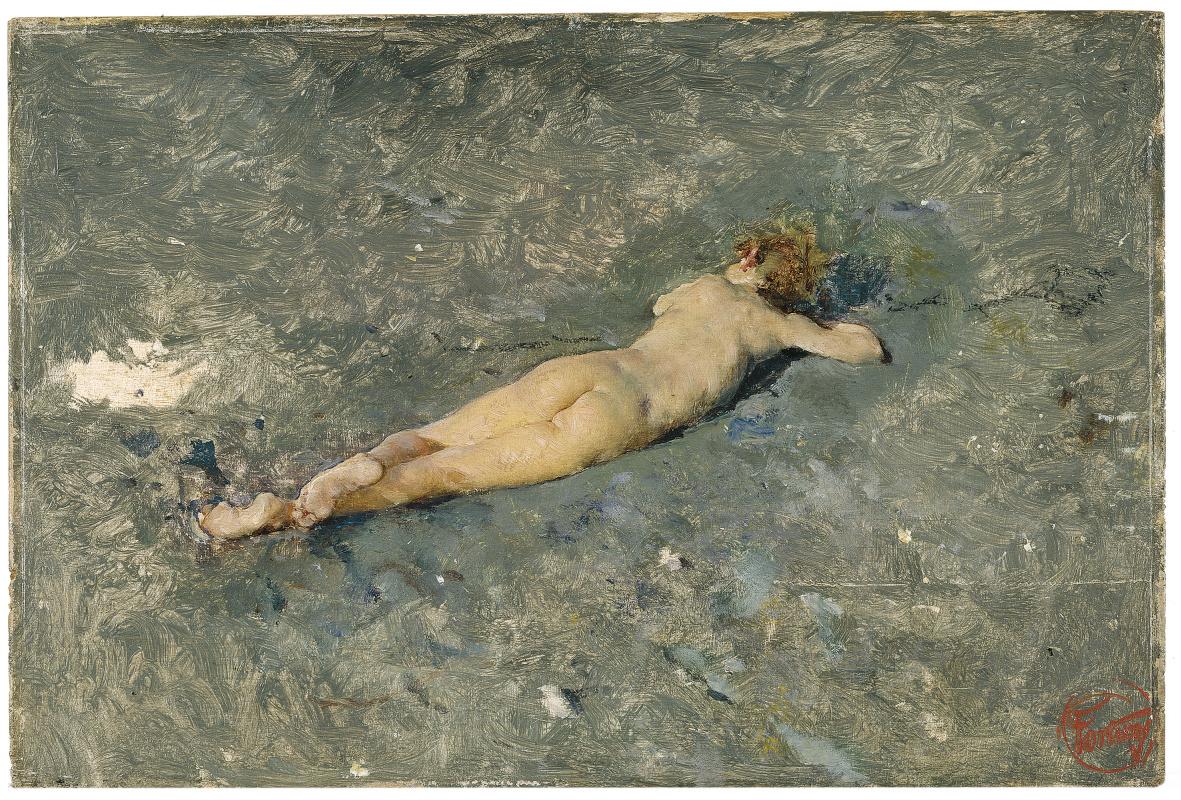 Мариано Фортуни. Обнаженный мальчик на пляже в Портичи