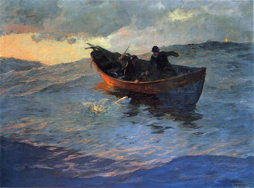 Edward Henry Pottast. Boat in the sea