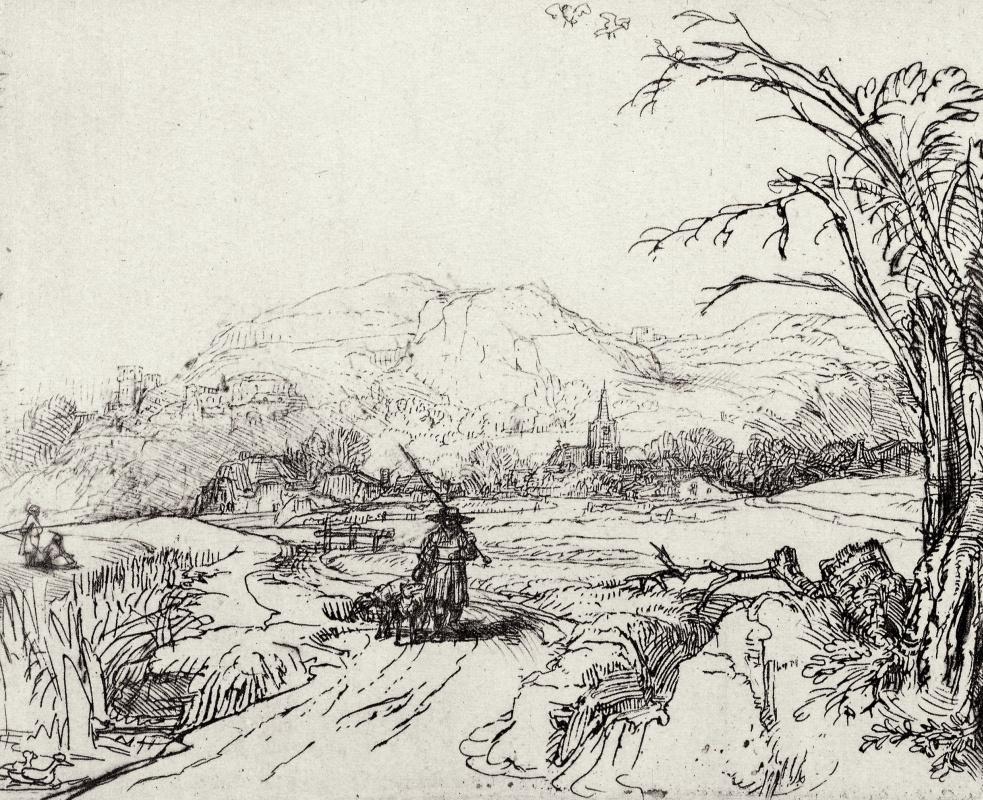 Рембрандт Харменс ван Рейн. Пейзаж с охотником
