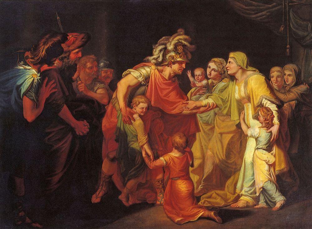 Иван Акимович Акимов. Великий князь Святослав, целующий мать и детей своих по возвращении с Дуная в Киев