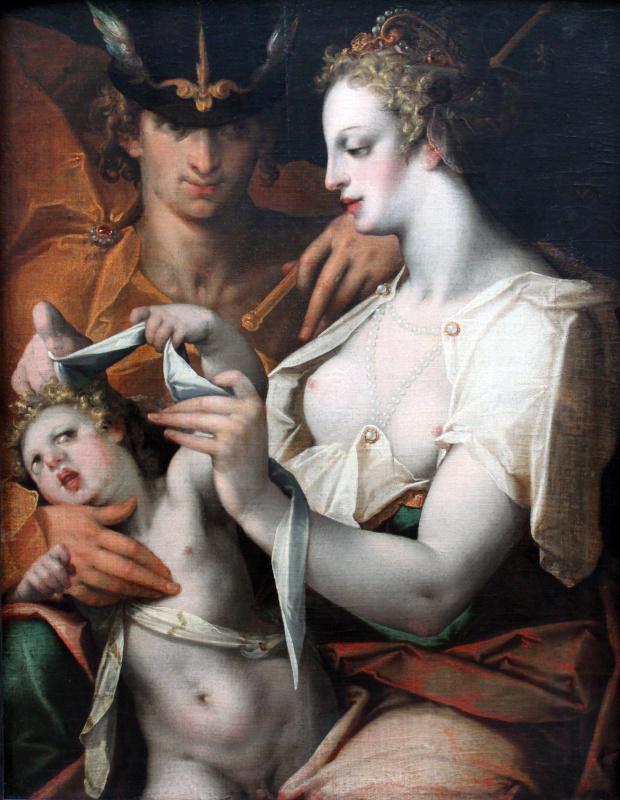 Венера и Меркурий завязывают глаза Купидону
