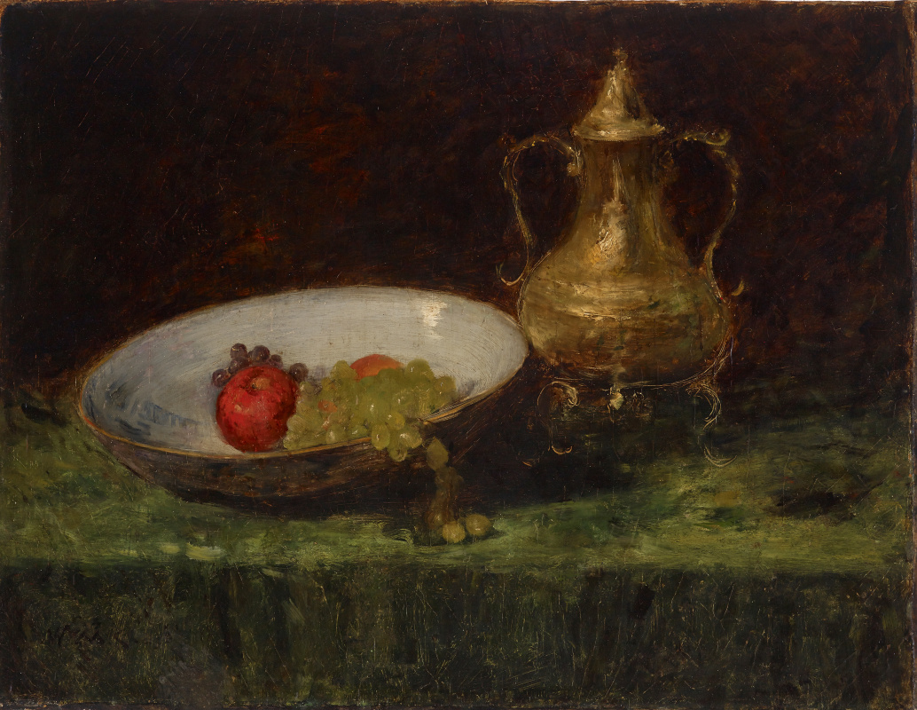 William Merritt Chase. Still life with fruit and copper utensils
