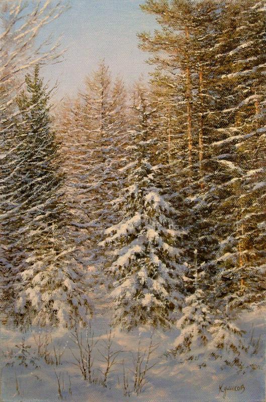 German Aleksandrovich Kulikov. Winter forest.