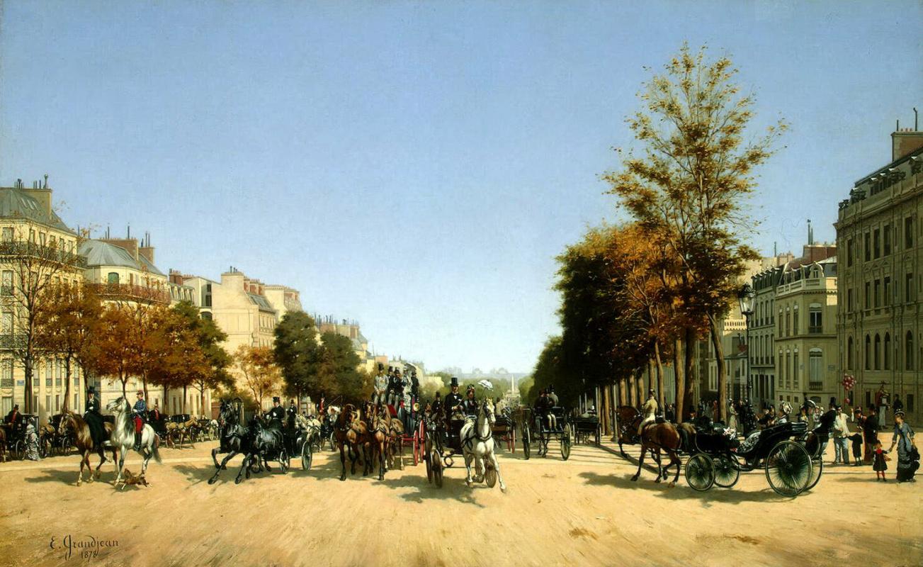 Эдмон Жорж Гранжан. Вид Елисейских полей от площади