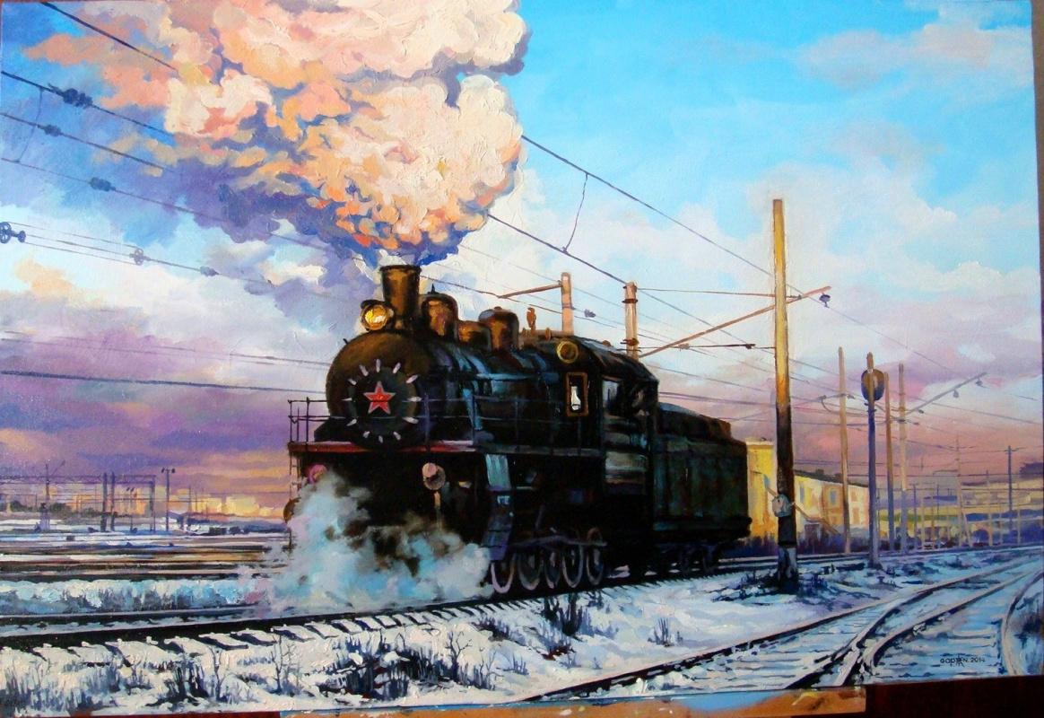 "Nikolay Gapon. ""Frosty morning on the train. Tricky art."""